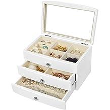 SONGMICS Girls Jewelry Box Wooden Case 3 Layer Organizer with Large Mirror White UJOW03W