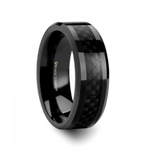(OXYN Black Titanium Polished Beveled Edges Black Carbon Fiber Inlaid Men's Wedding Band - 8mm)