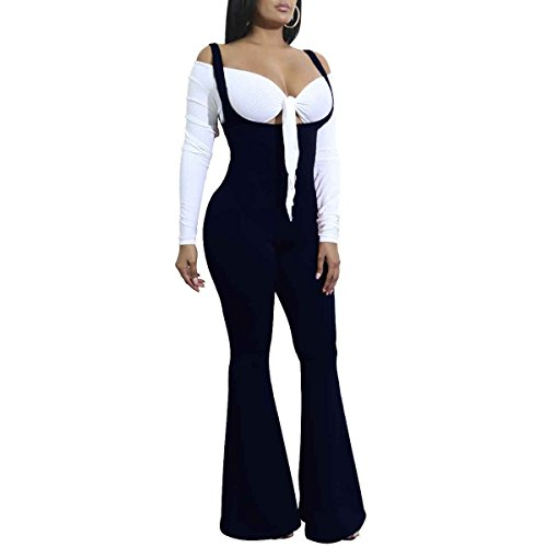 HELIDA Women's Plus Size Navy Fitted Inspired 70s Bell Bottom Pants Bib Romper Overalls XL
