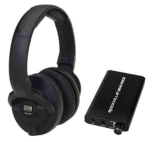 KRK KNS-6400 Dynamic Studio Monitor Headphones+Rechargeable Headphone Amplifier