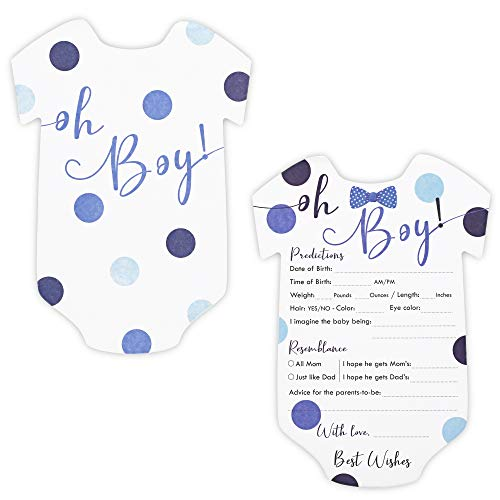 Baby Boy Shower Predictions and Advice Cards, 50 Pack, 5 x 7 in