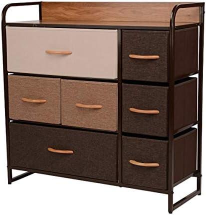 ORAF 7-Drawer Dresser, Sturdy Steel Frame, Wooden Top, Easy Pull Fabric Bins, Storage Tower Organizer Unit for Bedroom, Hallway, Entryway, Closets – Espresso Brown