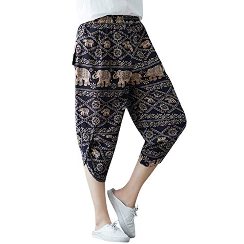 JOFOW Womens Pants Harem Capri Totem Egypt Ethnic Flowers Pattern Print Irregular Bloomers Cotton Linen Loose Crop Trousers (3XL,Brown) ()
