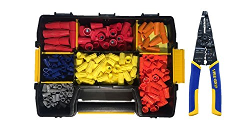 520 Piece Electrical Wire Connector Assortment Set with STANLEY STST14021 Sort Master Light Storage Case and IRWIN Tools VISE-GRIP Multi Tool Stripper, Cutter and Crimper, 8-Inch (2078309) - Cushion Grip Assortment
