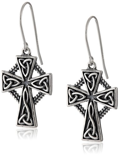Sterling Silver Oxidized Celtic Trinity Cross Dangle Earrings