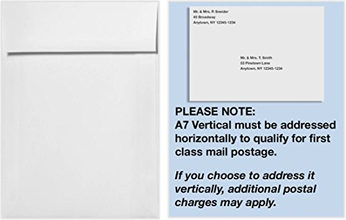 (A7 Vertical Invitation Envelopes w/Peel & Press (7 1/4 x 5 1/4) - 70lb. Bright White (50 Qty) | Perfect for Invitations, Announcements, Sending Cards, 5x7 Photos | 4880V-W-50)