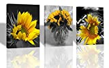 "living room decoration ideas Ardemy Canvas Wall Art Flowers Yellow Sunflower Painting Prints, 3 Panels Florals Black and White Modern Pictures for Bedroom Bathroom Living Room Spa Salon Wall Decorations, 12""x16""x3 pcs"