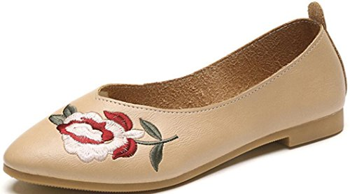 SATUKI Handmade Loafer Shoes For Women, Leather Slip On Casual Pastoral Floral Soft Shoes Beige