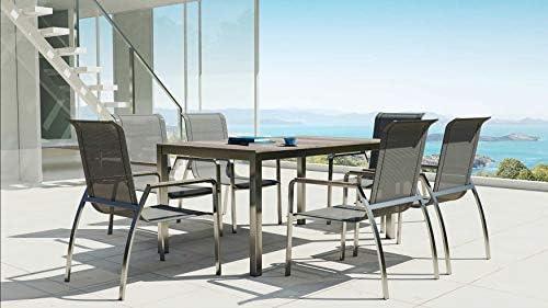 ARTELIA Sorrento L - Conjunto de muebles de jardín de acero inoxidable, mesa de comedor, juego para jardín, terraza, muebles de terraza premium: Amazon.es: Jardín