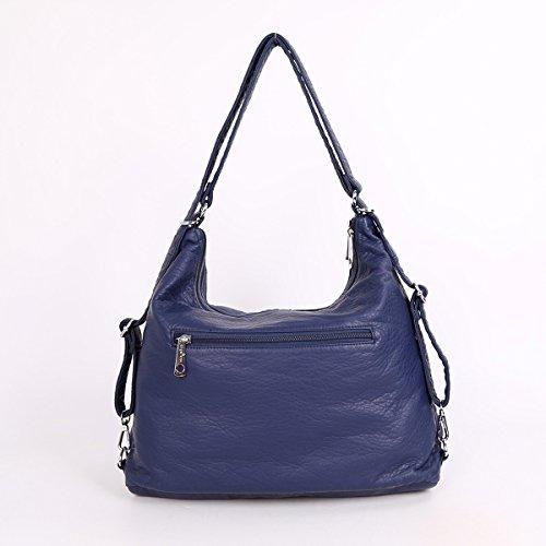 Al Azul Mujer Piel Hombro De Bolso Angelkiss Para wq76q