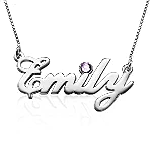 Sterling Silver Personalized Name Necklace with Swarovski Birthstone - Custom Made with Any Name!