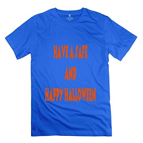LiaoYang 2 Color Halloween Pumpkin Smile Pumpkin Royal Blue Adult Standard Weight T-Shirt For Men XXL]()