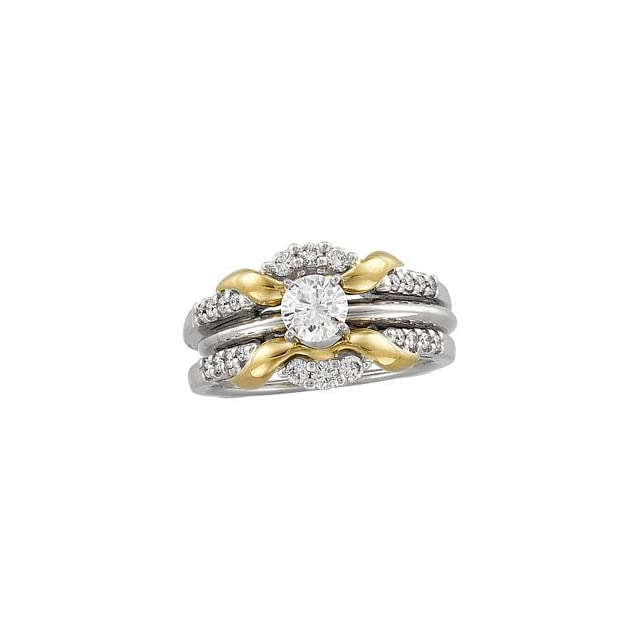 14Kt White & Yellow 1/3 CTW Diamond Ring Guard