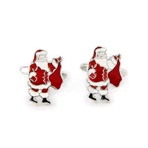 SODIAL(R) Santa-Pattern Cufflinks Father Christmas Cufflinks Men's Cuff Links Christmas Xmas Gift
