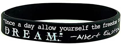 Hongma Believe Dream Greatness - Motivational Black Silicone Wristband Colored Lettering