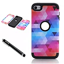 iPod Touch 6th Generation Case,Lantier 3 Layers Verge Hybrid Soft Silicone Hard Plastic TUFF Triple Quakeproof Drop Resistance Protective Case Cover with Stylus Diamond Design/Black