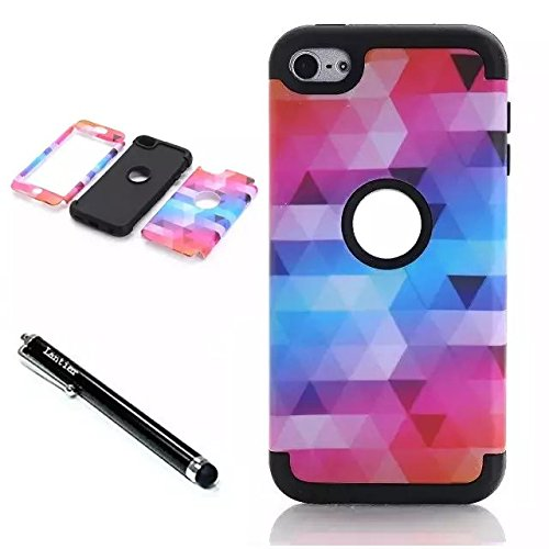 iPod Touch 6th Generation Case, Lantier 3 Layers Verge Hybrid Soft Silicone Hard Plastic TUFF Triple Quakeproof Drop Resistance Protective Case Cover with Stylus Diamond Design/Black L-1062-1