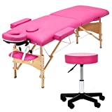 Best Portable Massage Tables - Uenjoy Folding Massage Bed with Stool, 84'' Professional Review
