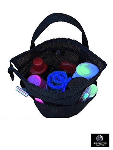 Saltwater Canvas, LLC Zip Top Mesh Shower Bag, Large Black, for Dorm & Gym