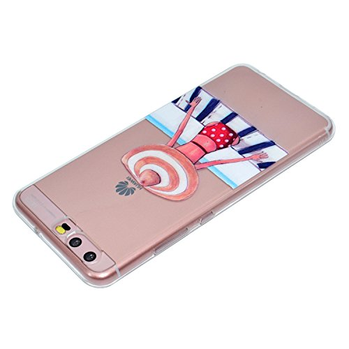 P10 Plus Case, Huawei P10 Plus Soft Case, Huawei P10 Plus Clear Back Cover, Cozy Hut Ultra Light Slim Shockproof Silicone TPU Gel Case [Ultra-Thin] [Lightweight] [Anti-Scratch] [Drop Protection] Trans Swimming girl