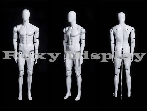 MD-kw12f Realistic male mannequin sitting pose with white Rome stool.