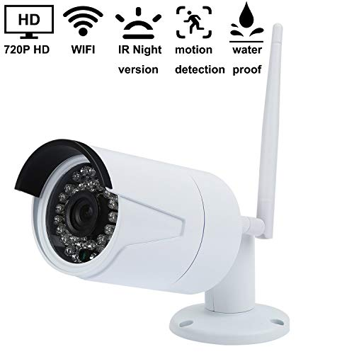 YUMUN 720P WIFI Bullet Camera IR Night Version Security Surveillance IP Camera IP66 Weatherproof for Outdoor and Indoor 2.4GHz No-Bullit-in SD card Powered By Adaptor White ()
