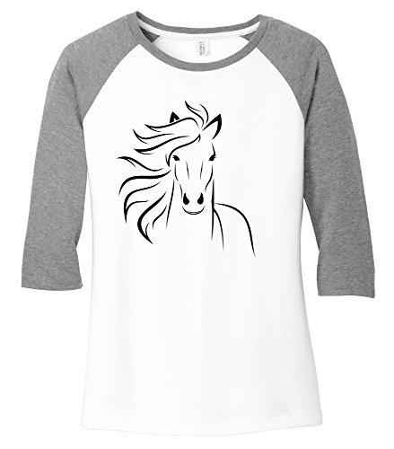 Comical Shirt Ladies Horse Outline Graphic Tee 3/4 Raglan