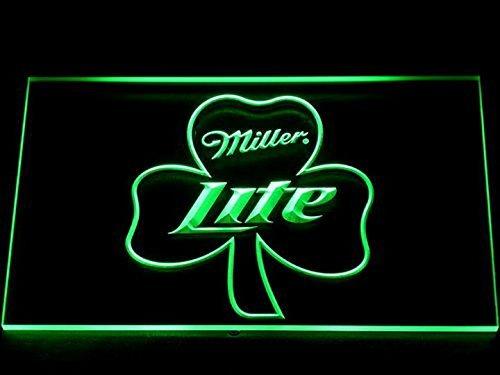 Miller Lite shamrock Beer Bar Pub LED Neon Sign Man Cave 020-G