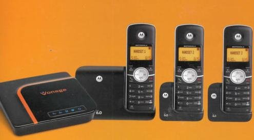 Vonage Phone Solution Adapter + Cordless Phone System, New for 2011 Vonage Digital Phone System Adapter and Dect 6.0 Motorola Cordless System L603 (not the previous L403) in One Box