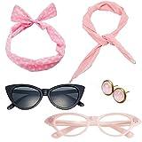 50's Costume Accessories Set Chiffon Scarf Cat Eye Glasses Bandana Tie Headband and Earrings (OneSize, Light Pink)