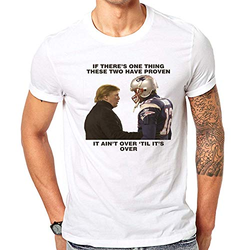Joom-TS Inspired Funny T-Shirt Tom Brady & Donald Trump New England Football Patriots Celebration Super Bowl White Medium