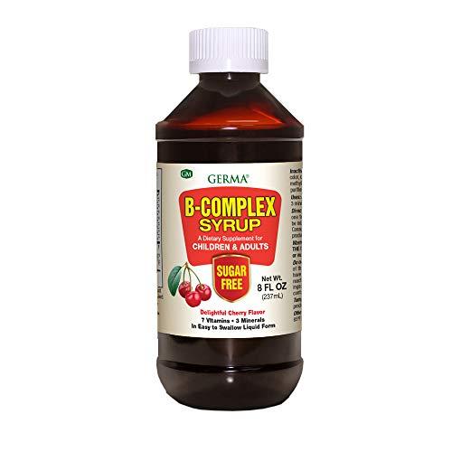 Germa B-Complex Syrup, Bone Health, Growth and Development Cherry Flavor/Sirop de Complejo B, Cuida Los Huesos, Crecimiento y Desarrollo Sabor a Cereza, 8 oz
