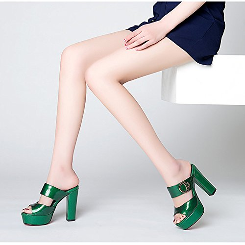 Shoes Women's Roman Heel Shoes Toe Shoes UK4 Fish Summer EU36 Green Size 5CM Open Mouth Slippers Sandals Color Beach Waterproof Platform ZHIRONG 11 CN36 Green High qA6wE6Y