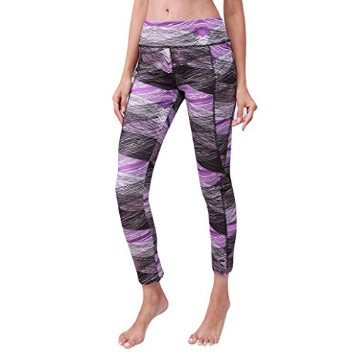 vermers High Waist Out Pocket Printed Yoga Capris Pants Clearance - Women Fashion Sports Gym Running Fitness Leggings(XL, Purple) ()