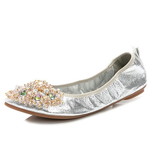 AalarDom Women's Solid Blend Materials No-Heel Pointed-Toe Flats-Shoes with Glass Diamond, Silver, 36