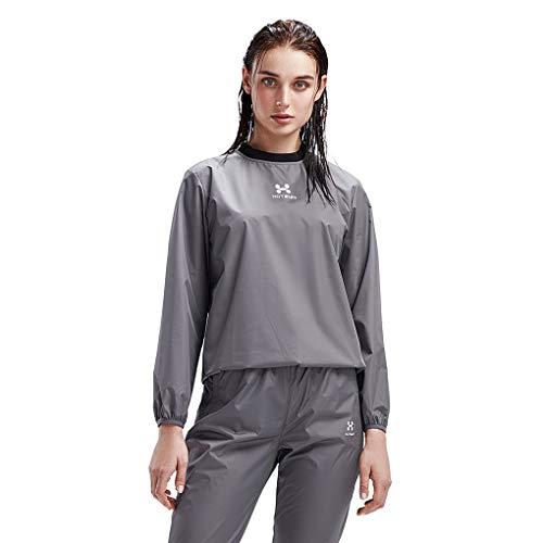 HOTSUIT Sauna Suit Women Weight Loss Gym Workout Tracksuit Sweat Suits, Grey, XXL