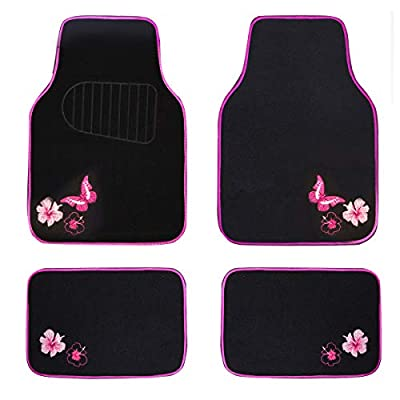 CAR PASS-Universal Fit Embroidery Butterfly and Flower Car Floor Mats,Universal fit for SUV,Trucks,sedans,Vans,Set of 4(Black with Pink): Automotive