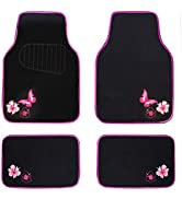 CAR PASS-Universal Fit Embroidery Butterfly and Flower Car Floor Mats,Universal fit for SUV,Truck...