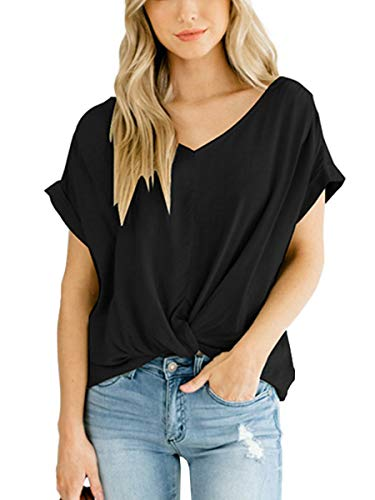 (Women Twist Knot Tops Flowy Cute Tee Shirts Summer Solid Tunics Blouses Black S)