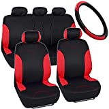 2003 350z leather seat covers - BDK Simply Covered – Accent Car Seat Covers & Steering Wheel Cover – Polyester Comfort Cloth (Red)