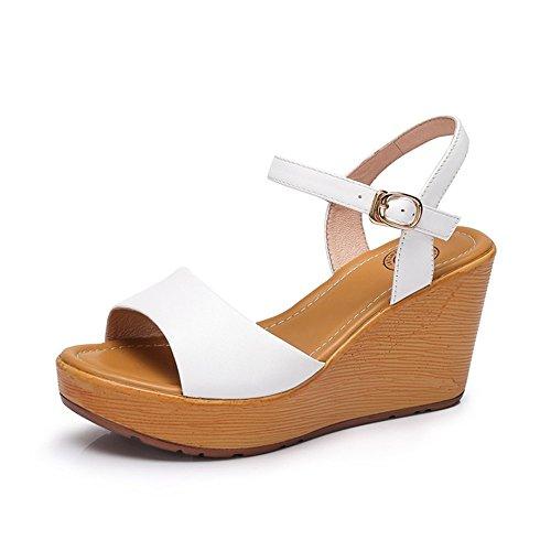 Camel Womens Open Peep Toe Sleehak Platform Slingback Sandalen Wit