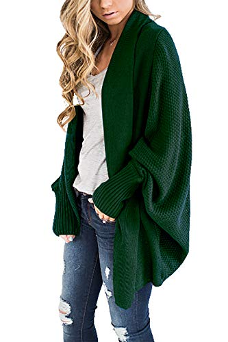 HZSONNE Women's Casual Long Bat Wing Sleeve Open Cardigan Chunky Crochet Slouchy Wrap Sweater Blouse Knitted Tops (Green, One Size)