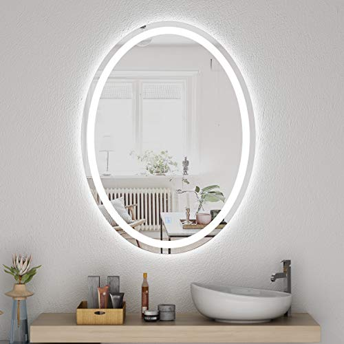 Honyee LED Lighted Bathroom Mirror 24x32 Inch, Wall Mounted Vanity Mirror with - Bathroom Shaped Led Mirrors