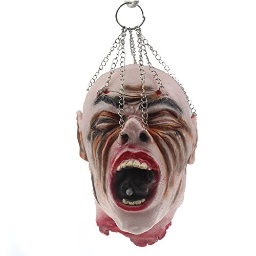 LETSQK Scary Realistic Cut Off Corpse Head Prop Halloween Accessories Decorations G -