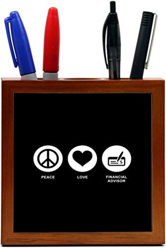 Rikki Knight Peace Love Financial Advisor Black Color Design 5 Inch Tile Wooden Tile Pen Holder  Rk Ph42320