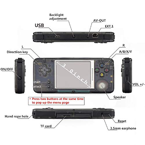 BAORUITENG Handheld Game Console, Retro Game Console 3 Inch HD Screen 3000 Classic Game Console ,Portable Video Game Great Gift for Kids (Black) by BAORUITENG (Image #2)