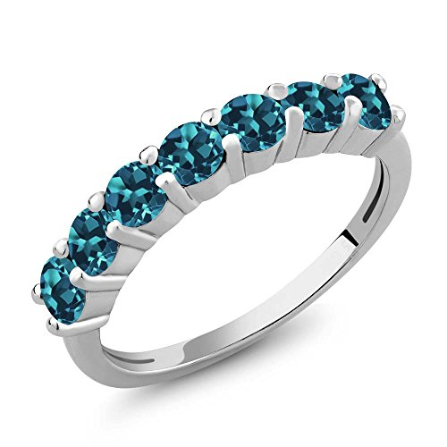 1.40 Ct Round Natural London Blue Topaz Gemstone Birthstone 925 Sterling Silver (Topaz Platinum Bands)