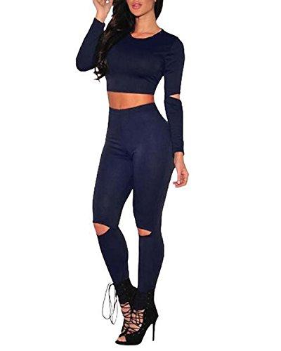 Auxo Conjuntos Deportivos Chaqueta Corta la Rodilla Pantalones Largos con Agujeros para Mujer Azul Real