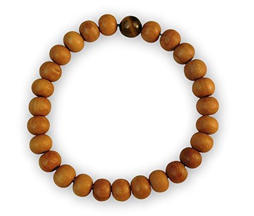 (Chakra Crafts Healing Wood Bead Wrist Mala Yoga Bracelet with Stretchy Cord (Handmade) WB2 (Tiger's Eye))