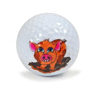 Nicks Underground Novelty Golf Balls - Happy as a Pig 3 Pack DisplayTube #NUG28